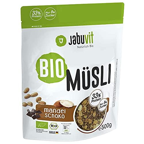 JabuVit Low-Sugar Bio Müsli - dein Müsli mit wenig Kohlenhydraten und nur ca. 5% Zucker, reich an Ballaststoffen, Protein & extrem lecker in Bio Qualität, Made in Germany - 500g (Mandel-Schoko, 500g)
