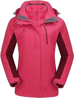 Women's 3-in-1 Winter Jacket Ski Jacket Waterproof Snowboarding Coats with Warm Fleece Inner Windproof Hooded
