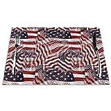 Set di 6 Tovagliette Bandiera Americana Rosso Bianco Strisce Blu Stelle Pattern Lavabile Antiscivolo Resistente al Calore per la Cucina e la tavola 45x30cm