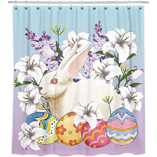 JOOCAR Shower Curtain Bonsai Tree Easter Easter Bunny Eggs with White Lilies Teal Purple Polyester Fabric Bathroom Decor Set with Hooks