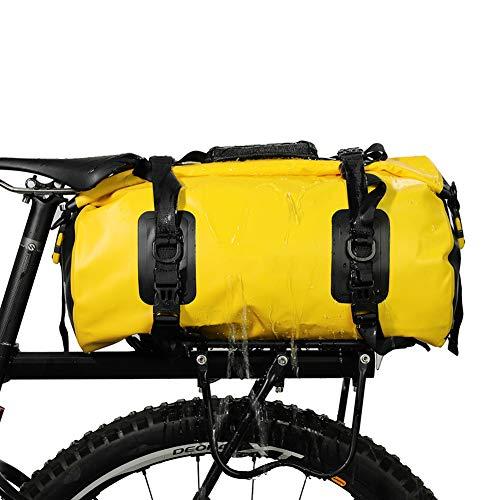 IUANUG 3in1 Fahrradtasche - wasserdicht & reflektierend - als Gepäckträgertasche Umhängetasche & Rucksack einsetzbar - ideale Gepäcktasche fürs Fahrrad 20L (schwarz),Gelb