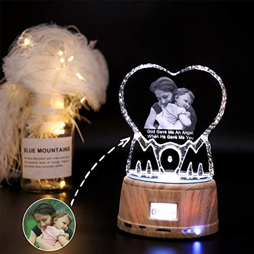 7 Colores Foto Grabada Y Nombre Cristal Heart Music Lamp Bluetooth Led Night Light Marco De Fotos Único Día De San Valentín Aniversario Ideas De Cumpleaños Para Niños Mujeres Mamá