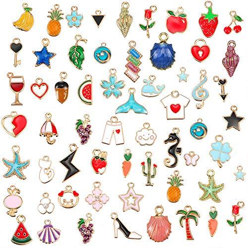 GOTONE 60 Stück Emaille Charme Anhänger Gemischte Stile Überzogene Emaille zum Armband Halskette Ohrring Charms Schmuck Handwerk Bilden