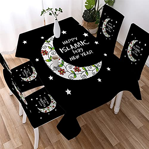 XXDD Mantel de Mandala Dorado Simple Estrella Luna Mantel Impermeable decoración Mantel de Restaurante Cubierta de Mesa A24 140x160cm