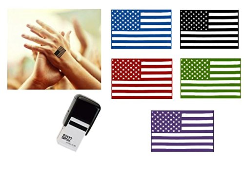 STARS & STRIPES FLAG Hand Stamp - suitable for Festivals, Parties, Clubs, Special Events, Bars etc. (Blue)