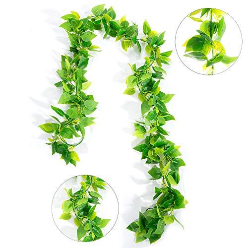 ZWOOS Plantas Hiedra Artificial Enredaderas Colgantes Verde Hojas de Seda...