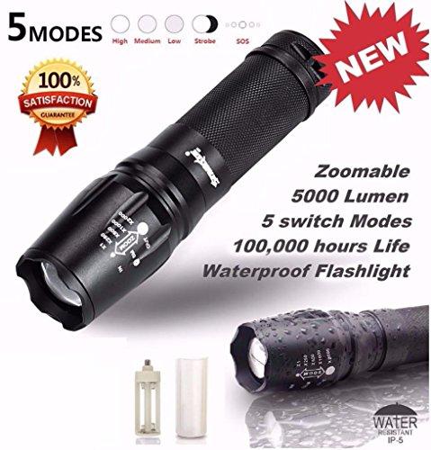 TONSEE Lampes Torches, 5000 Lumen 5 Modes T6 zoomables LED 18650 Lampe de Poche Lampe Torche Lumière G700 X800