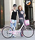 <span class='highlight'><span class='highlight'>JHKGY</span></span> Single-Speed Beach Cruiser Bicycle,Single-Speed Carbon Steel Bike Frame,Classic Bicycle,with Shopping Basket,for Seniors, Men Unisex,Pink,26 inch