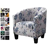 WOMACO Club Chair Slipcover Printed Stretch Armchair Tub/Round Barrel Swivel Chair Covers with Elastic Bottom Sofa Furniture Protector (1, A4)