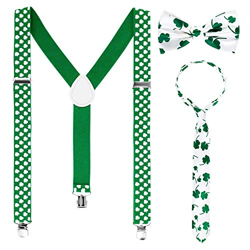 KADILA Juego de 3 Piezas para Disfraz de Duende del da de San Patricio, Accesorios para Fiesta, Incluye Tirantes para el da de San Patricio, trbol Verde