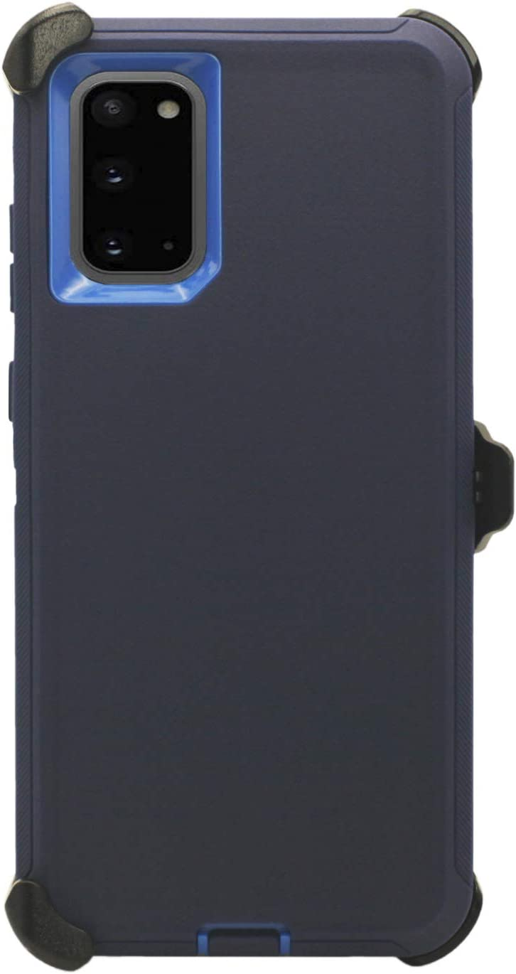 """WallSkiN Turtle Series Belt Clip Cases for Galaxy S20 (6.2""""), 3-Layer Full Body Life-Time Protective Cover & Holster & Kickstand & Shock, Drop, Dust Proof - Navy Blue/Blue"""