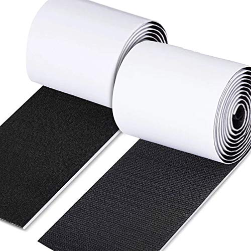 LEOBRO 面ファスナー 強力両面テープ付き 耐熱 防水 幅広 大容量 幅11cm*1M ブラック オスメスセット 強粘着 車用 家庭用 DIY用 業務用 工業用
