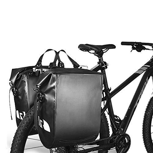 Feixunfan Multifunctionele waterdichte fietstas Lederen Fiets Achterstoel Bagage 20L Dubbele Waterdichte Fietstas Met Regenhoes Geschikt Voor Reizen Reflecterende Strip
