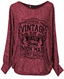 Emma & Giovanni - Pullover/Sweatshirt Vintage Loose Fit - Damen (Rot, M-L)