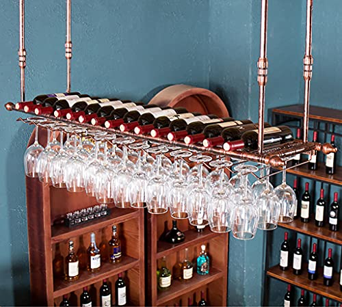 Soportes para copas Sostenedor del vidrio de vino Sostenedor del cubilete colgando estante del vidrio de vino bar escritorio Bar Club (60×30cm, Bronce)