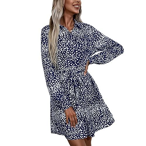 OtoñO E Invierno Moda Casual para Mujer con Cuello En V Estampado De Leopardo Lazo Cintura Camisa Falda De Manga Larga Suelta Vestido Corto para Mujer