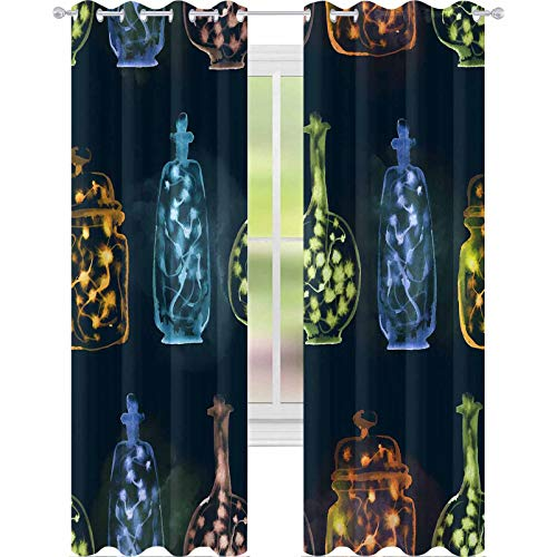 YUAZHOQI Curtains for Living Room Watercolor Illustration Seamless Pattern of Bottles with The Rainbow Garland Lights on Dark Night ba 52' x 84' Window Curtains for Living Room