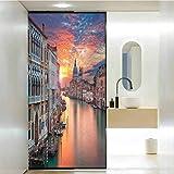 PikaQ - Lámina de cristal para puerta de ducha (23,6 x 47,2 cm), diseño de Gran Canal de Venecia