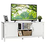 Tangkula Farmhouse Wood Barn Door TV Stand for TV's up to 65' Flat Screen, Living Room Media Console Storage Cabinet with Doors and Shelves, TV Console Table Cabinet (White)
