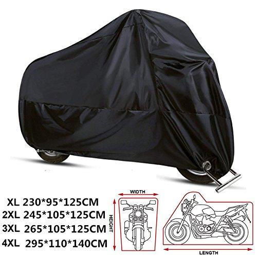 ANFTOP Funda Protector para Moto de 210D tela impermeable Cubierta para Moto / Motocicleta , Resistente al Agua a Prueba de UV polvo Color Negro XL