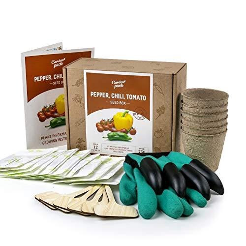 Kit de cultivo de semillas de chile de tomate, para cultivar tu propio regalo de jardinería, 12 variedades de semillas, guantes con garras, macetas, marcadores, caja completa de semillas