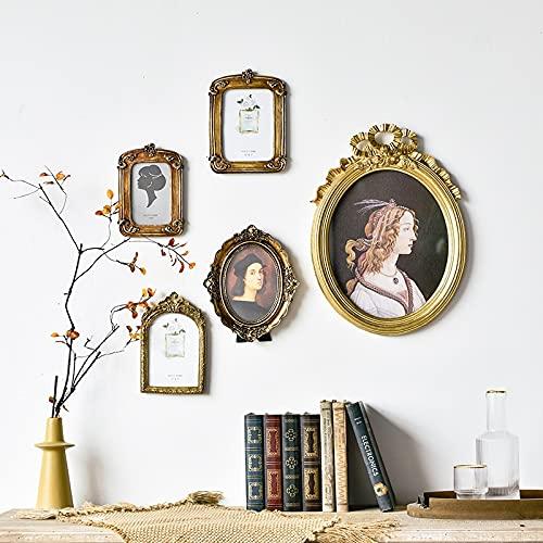 PPuujia Marco de fotos de resina vintage tallado dorado marcos de fotos para bebé, decoración clásica del hogar (color: 46 x 34 cm)