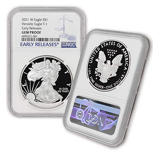 2021 W 1 oz Proof American Silver Eagle Gem Proof (Heraldic Eagle T-1 - Early Releases) by CoinFolio $1 GEMPR NGC