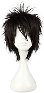 NiceLisa Halloween Party Cosplay Wig Short Black Fluffy Boy Male Anime Comic Costume Wig