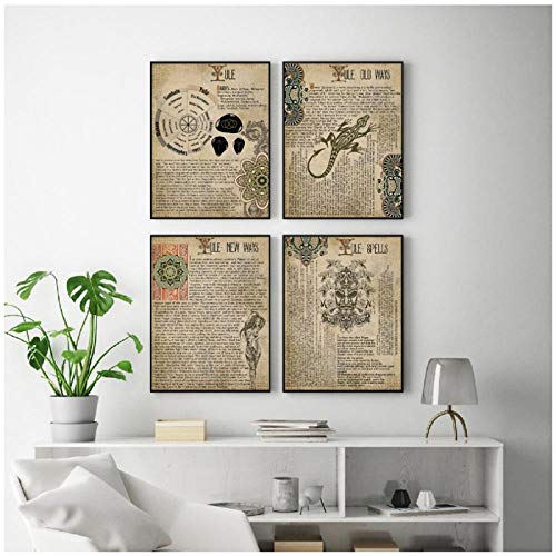 IGZAKER Midwinter Buch der Schatten drucken Hexerei Vintage Poster Zauber Magic Wall Art Bild Leinwand Malerei Dekor-40x60cmx4pcs kein Rahmen