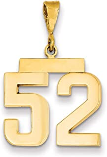 Lex & Lu 14k Yellow Gold Medium Polished Number 52 Charm