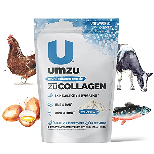 UMZU zuCollagen Protein - Multi Collagen Protein Powder, Daily Supplement to Improve Skin, Hair, Joints, and Muscle Recovery - Non-GMO, Unflavored, 20 Servings