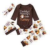 Riou Weihnachten Set Baby Kleidung Pullover Pyjama Outfits Set Familie Infant Baby Jungen Mädchen Brief Türkei Strampler Hosen Thanksgiving Day Outfits Set (80, Braun)