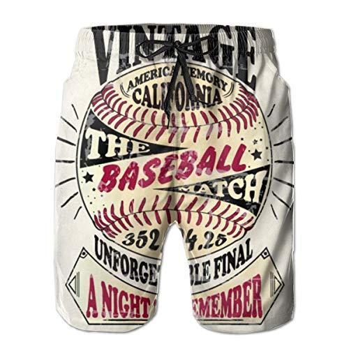 Frankv Short de Bain pour Hommes American-Baseball-Vintage-Retro Illustration Design Fait Main XL Maillot de Bain