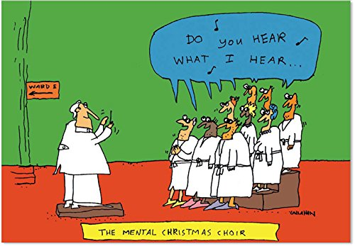 Insane Choir - 12 Elderly Boxed Merry Christmas Cards with Envelopes (4.63 x 6.75 Inch) - Funny Old People Singing, Xmas Notecard Set for Grandma, Grandpa - Losing Mind Note Cards B1504