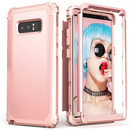 Galaxy Note 8 Case, Note 8 Case Rose Gold for Women, IDweel 3 in 1 Shockproof Slim Hybrid Heavy Duty Protection Hard PC Cover Soft Silicone Rugged Bumper Full Body Case for Galaxy Note 8 (Rose Gold)