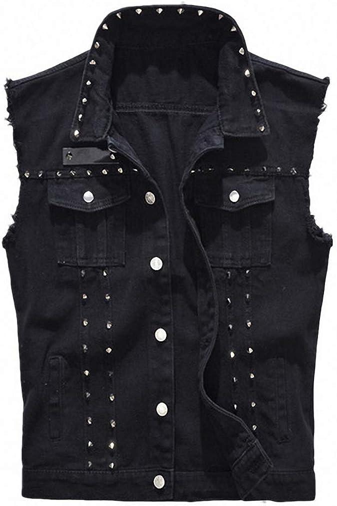 Mens Denim Vest Punk Rock Style Rivet Black Jeans Waistcoat Raw Edge Jacket