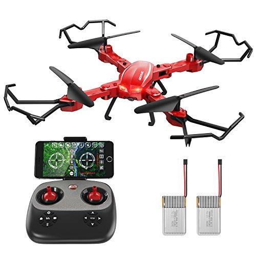GoolRC Drone con Fotocamera HD 720P T5W PRO 2.4G 4CH WiFi FPV Pieghevoli RC Quadcopter Selfie Drone One-Key Restituzione di Altitudine (2 Batteria)