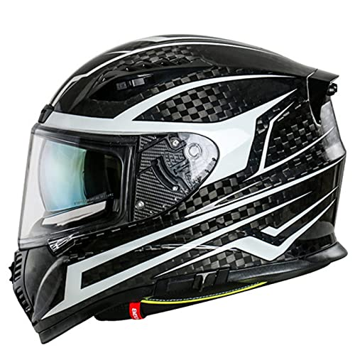 Casco Moto Fibra De Carbono, Casco Moto Integral Fibra De Carbono Casco De Motocicleta Con Visera Solar Y Espacio Para Bluetooth, Casco Luminoso Para Hombre Y Mujer E,M