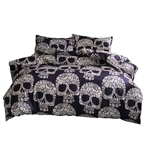 GODGETS Noche de Terror - Funda de edredón en patrón de Skull - Estilo gótico Oscuro - para Halloween, Festival de Zombies, Noche de Fantasmas,Oro Negro,[50 * 70] CM Pillowcase