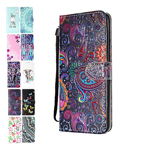 Ancase Lederhülle kompatibel für Samsung Galaxy A10 / M10 Hülle Bunte Spitze Muster Handyhülle Flip Hülle Cover Schutzhülle mit Kartenfach Ledertasche für Mädchen Damen