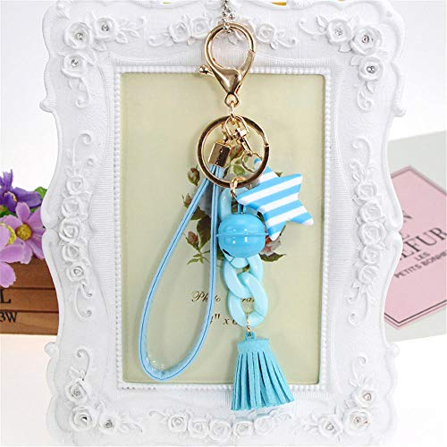 Keychains Gold Metal Leather Keychain Tassel Key Chain Women Alloy Bell Key Ring Car Llavero Auto Key Chain Keyrings Bag Charms Light Blue