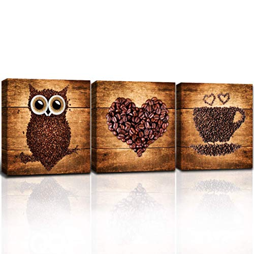 A Cup of Tea Creative Coffee Bean Painting Canvas Print Owl Heart Cup Picture Wall Art for Home Kitchen Cafe Bar Restaruant Wall Decor Modern Artwork 3pcs 12'x12' Framed