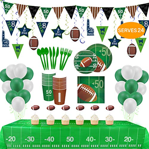 Football Party Supplies and Decorations Set-Include Tablecover, Plates, Flatware Set,