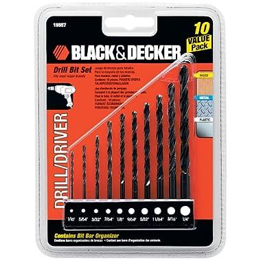 BLACK+DECKER 15557 10-Piece Drill Bit Set