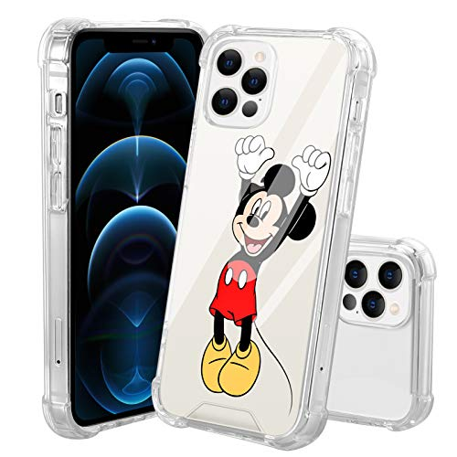DISNEY COLLECTION Clear Case Designed for iPhone 12 / iPhone 12 Pro Cute Mickey Mouse Hard PC Back Cover 4 Corner Protective Cover 6.1 inch