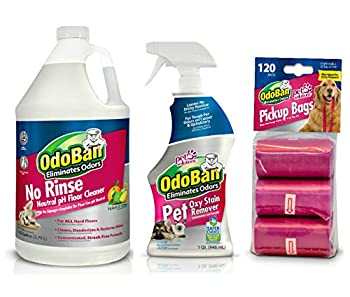 OdoBan Pet Solutions 32oz Spray Oxy Stain Remover 1 Gallon Neutral pH Floor Cleaner Concentrate and 120 Dog Waste Pickup Bags