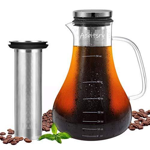Unizooke Cold Brew Kaffee Maker, 1.6L Glas Kaffeekanne mit E