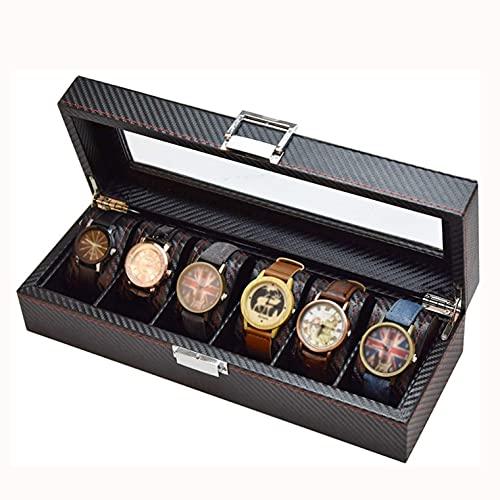 SMOOTHLY Caja de Almacenamiento de Reloj 6 Slot Clock Showcase Cuero de Fibra de Carbono Joyería Colección Caja de Almacenamiento de la Pulsera, Cubierta de Vidrio (2 Piezas)