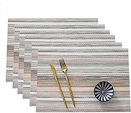 Unkown Place Mats Set of 6 Heat Insulation Stain Resistant Placemats for Dining Table Durable Cross Weave Woven Vinyl Kitchen Table Mats Placemat (Blue Stripes-6)