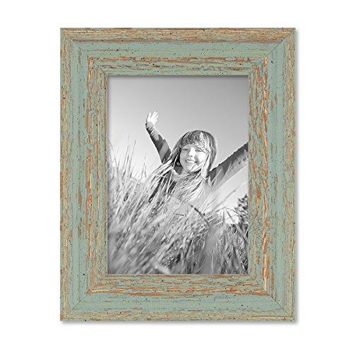PHOTOLINI Vintage Bilderrahmen 13x18 cm Grau-Grün Shabby-Chic Massivholz mit Glasscheibe und Zubehör/Fotorahmen/Nostalgierahmen